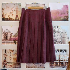 Career Elements Vintage Plaid Pleated Midi Skirt
